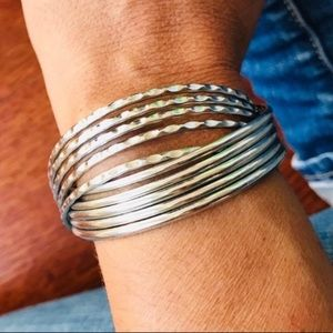 Jewelry - Silver Cuff Two Textured Overlapping Bracelet